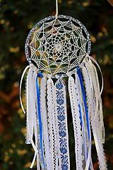 Dekorácie - folklórny lapač snov modrý - 9869513_