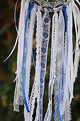 Dekorácie - folklórny lapač snov modrý - 9869514_