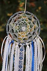 Dekorácie - folklórny lapač snov modrý - 9869515_