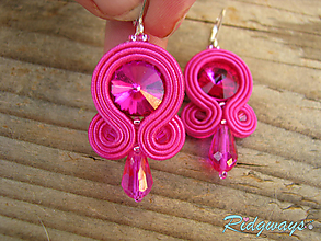 Náušnice - Simple...soutache (Fuchsia) - 9868549_