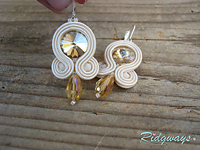 Náušnice - Simple...soutache (Beige) - 9868580_