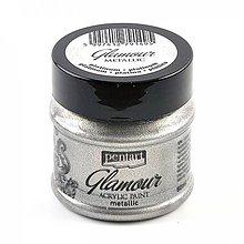 Farby-laky - Akrylová farba 50 ml, Pentart - GLAMOUR (platinová) - 9868938_