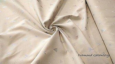 Textil - Látka pretkávaná lurexovou niťou - trojuholníčky strieborné - cena za 10 cm - 9870849_