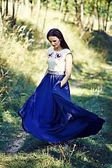 Šaty - Saténové modré šaty Poľana - 9869189_