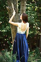 Šaty - Saténové modré šaty Poľana - 9869190_