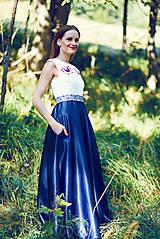 Šaty - Saténové modré šaty Poľana - 9869191_