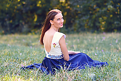 Šaty - Saténové modré šaty Poľana - 9869196_