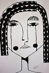 - °plakajúca° /kresba čiernym tušom/ - 9869084_