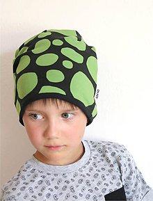 Detské čiapky - čiapka z biobavlny Balvany (zelená) - 9870654_