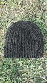 Čiapky - Predĺžená háčkovaná čiapka, homeleska v čiernej SKLADOM - 9870669_