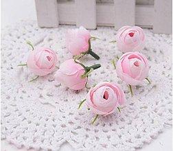 Polotovary - Púčiky ružičky 2 cm  (Ružové dúhové) - 9869813_