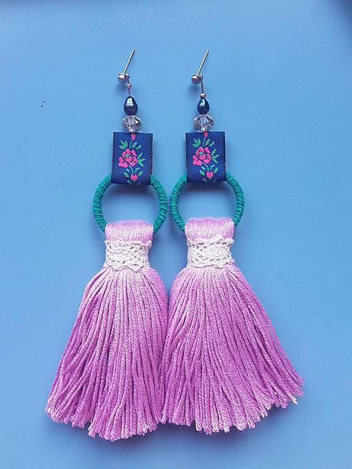Náušnice - Bamboo folk: THINK pink - 9869235_
