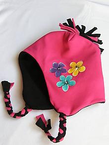 Detské čiapky - Zimná čiapka s kvietkami - 9869301_