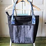 Veľké tašky - Čierna ľanová taška - 9868069_