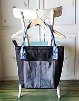 Veľké tašky - Čierna ľanová taška - 9868070_