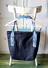 Veľké tašky - Čierna ľanová taška - 9868071_