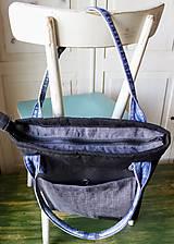 Veľké tašky - Čierna ľanová taška - 9868072_