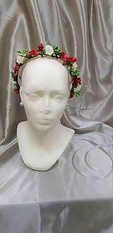 Červeno-biely kvetinový venček do vlasov