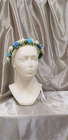 Ozdoby do vlasov - Modro-biely kvetinový venček na zaväzovanie - 9869371_