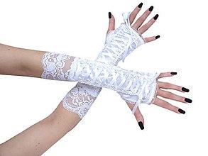 Rukavice - Biele rukavičky s korzetovým šnurovaním pre nevestu187 - 9869756_