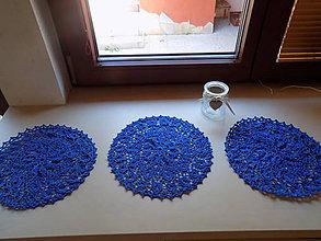 Úžitkový textil - 3-hačkované dečky-sada  modrá - 9868422_