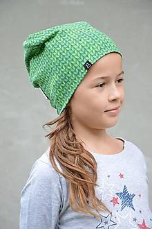 Detské čiapky - Bavlnená čiapka Twist - zelená - 9868282_