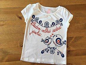 Detské oblečenie - Folkové maľované tričko pre budúcu sestričku - 9868148_
