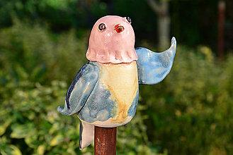 Dekorácie - Vtáčik - zápich...  Teodor a Marlena (Marlena) - 9868356_