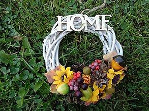 Dekorácie - Jesenný venček s nápisom Home. - 9868770_