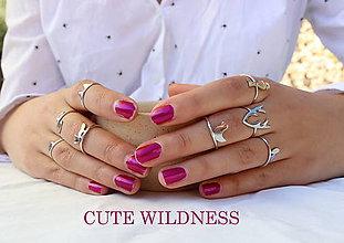 Prstene - minimalistický strieborný prsteň CUTE WILDNESS - vtáčik - 9869354_