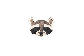 Odznaky/Brošne - Drevená brošňa Raccoon Brooch - 9871439_