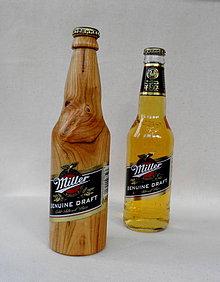 Dekorácie - drevená pivová fľaška... - 9872588_