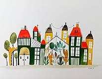Obrazy - Zelené mesto ilustrácia / originál maľba - 9871056_