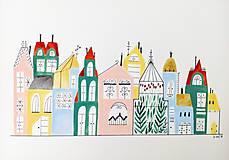 Obrazy - Mesto skleník  ilustrácia / originál maľba - 9871057_