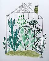 Obrazy - Skleník ilustrácia /originál maľba - 9871063_