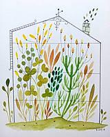 Obrazy - Skleník  žltý ilustrácia / originál maľba - 9871064_