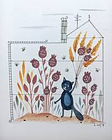 Obrazy - Mačička v skleníku  ilustrácia / originál maľba - 9871065_