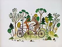 Obrazy - Na bicykli ilustracia /originál maľba  - 9871493_