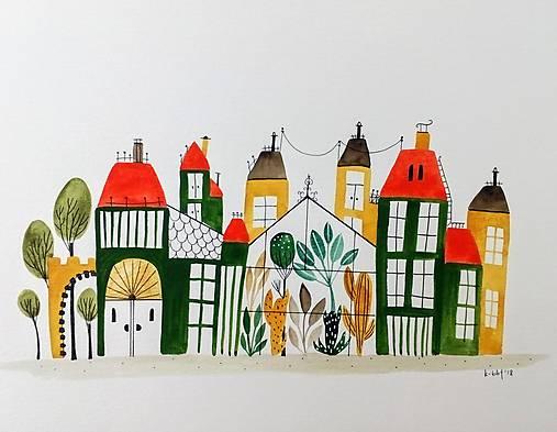Zelené mesto ilustrácia / originál maľba