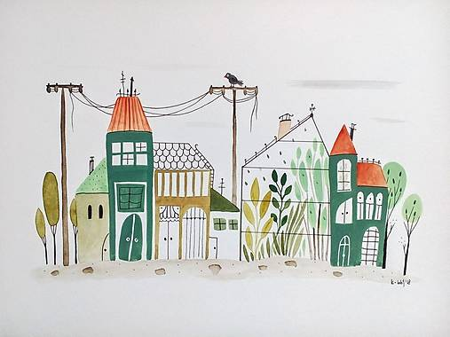 Mesto Zelené   ilustrácia / originál maľba