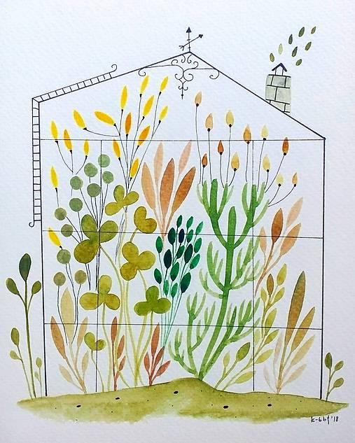 Skleník  žltý ilustrácia / originál maľba