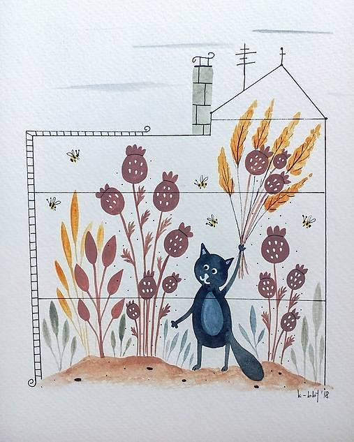 Mačička v skleníku  ilustrácia / originál maľba
