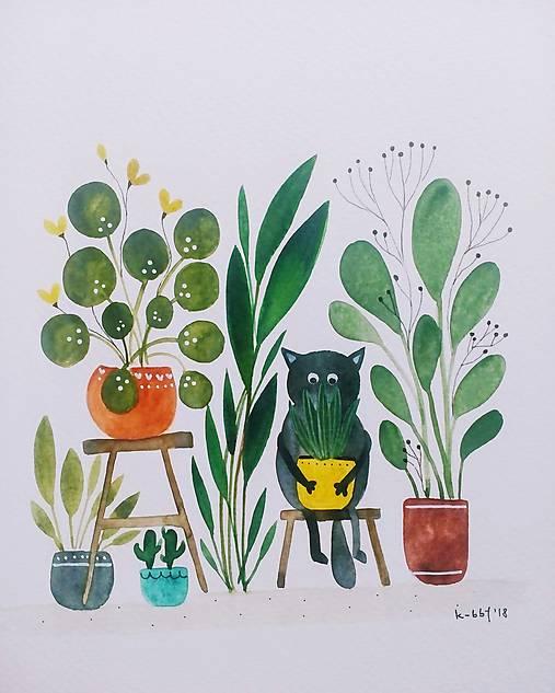 Mačička a kvety ilustrácia / originál maľba