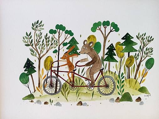 Na bicykli ilustracia /originál maľba