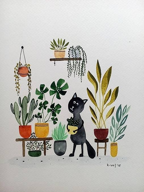 Mačička a kvetiny ilustrácia / originál maľba
