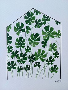 Obrazy - Skleník ilustrácia / originál maľba - 9871061_