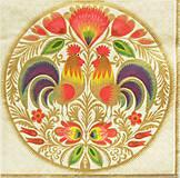 - S1239 - Servítky - folk, polish folk, kohút, kvety, ľudový motív - 9871781_