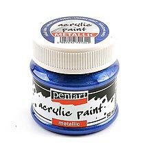 Farby-laky - Akrylová farba 50 ml, Pentart - metalická (kobaltová modrá) - 9871594_