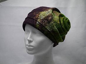 Čiapky - Dámsky klobúk bordo-zelenej farby s hodvábnym detailom - 9872272_