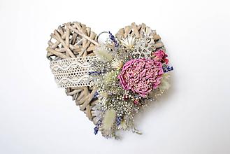 Dekorácie - Srdiečko s kvetinkami - 9872792_